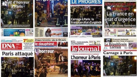 la-une-des-journaux-du-groupe-ebra-au-lendemain-des-attentats-survenus-a-paris-le-vendredi-13-novembre-photomontge-simon-louvet-1447479879